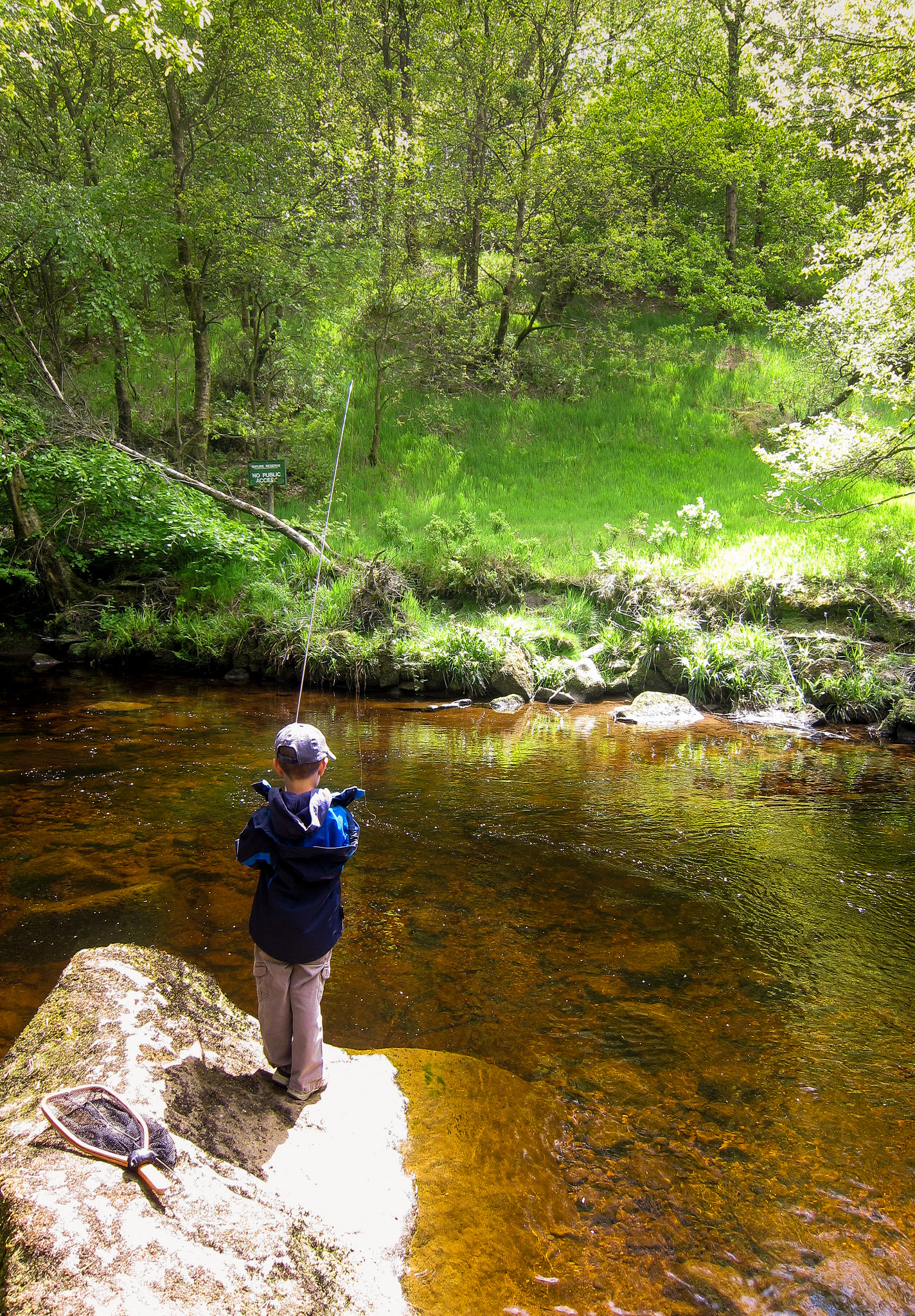 My son Zachary fishing Hebden Water in Hardcastle Crags